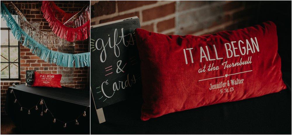 Custom made red velvet commemorative pillow