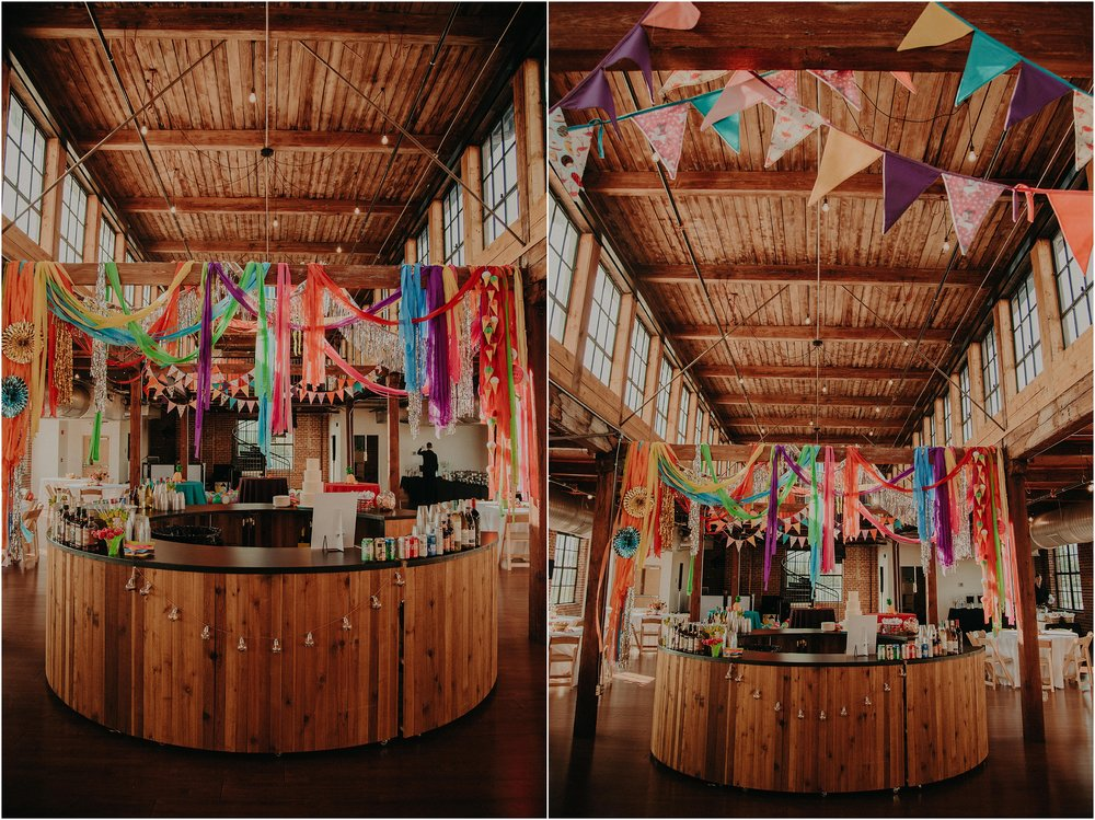 Festival vibes with streamers and colorful flags