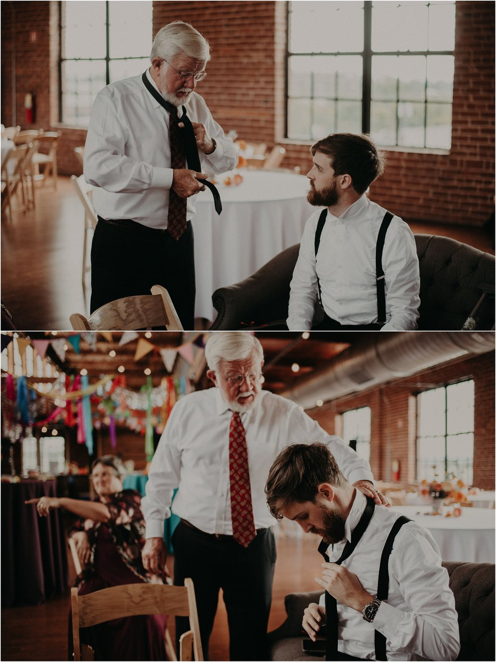 The groom's father helps him tie his tie