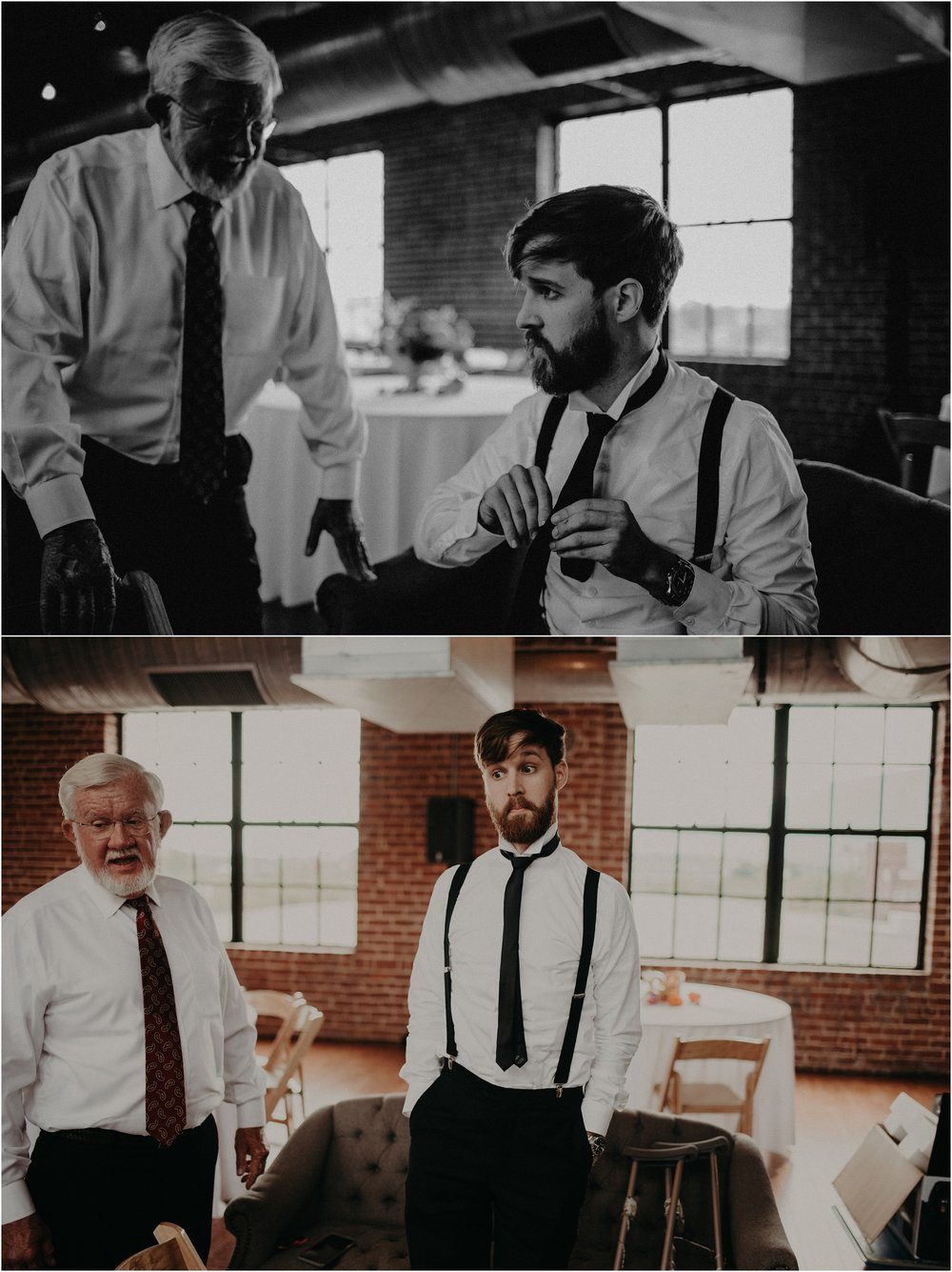 The groom cracks a face after attempting to tie his tie