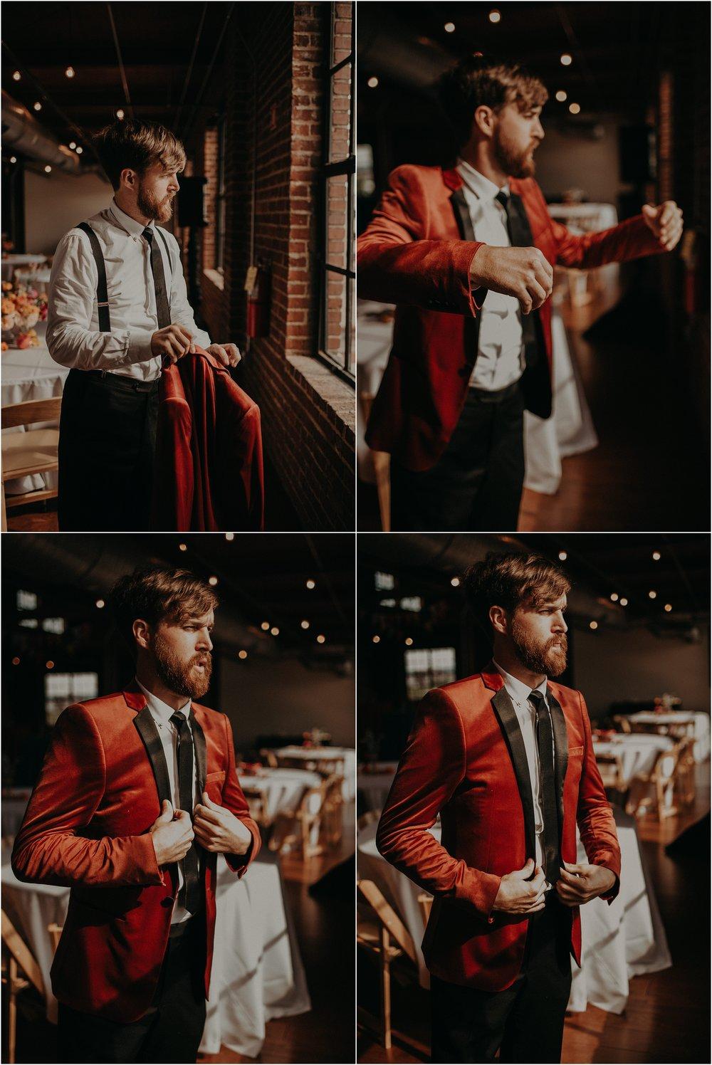 The groom slides on his burnt orange crushed velvet ASOS suit jacket