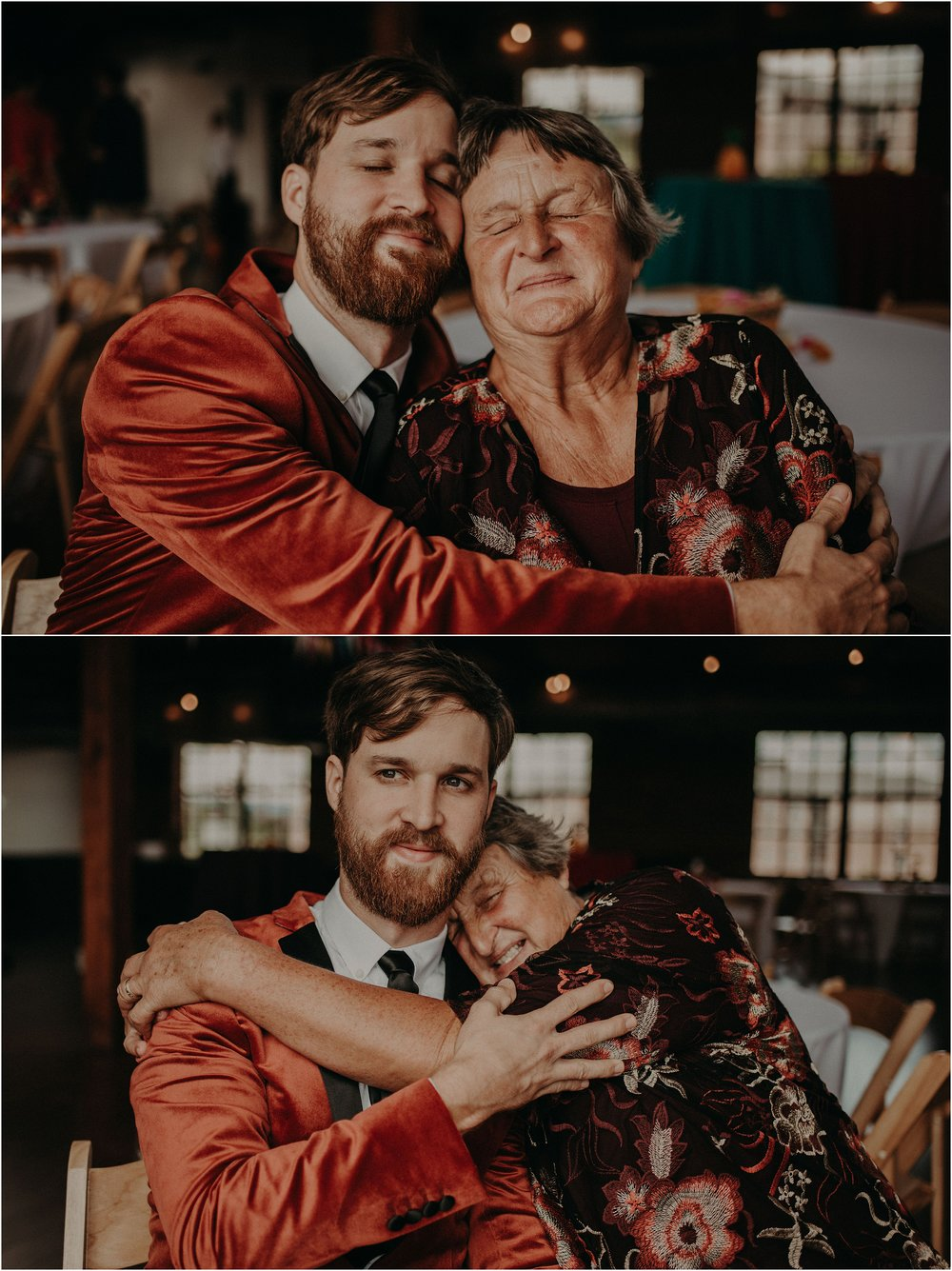 The groom and his mother share a sweet hug
