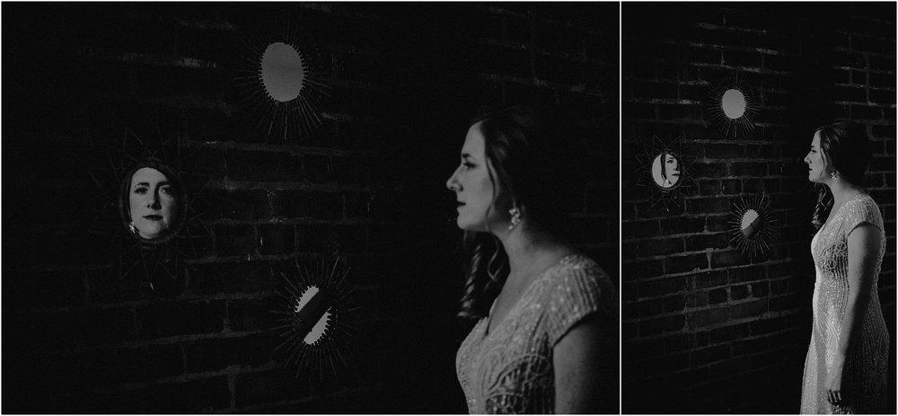 A reflective bride in the mirror