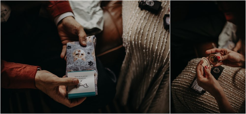 Unique gifts for each other - socks with their cat and a locket with their engagement photos