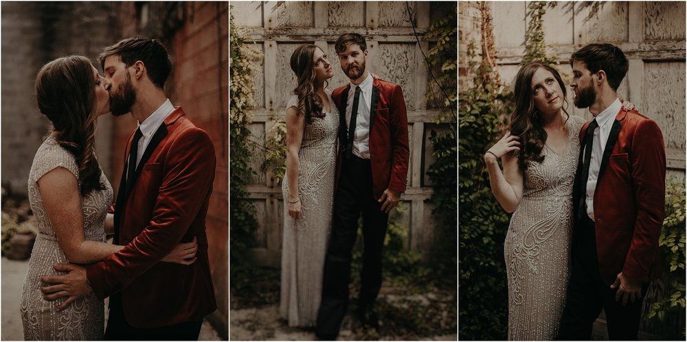 Rustic eclectic portraits in the alley of The Turnbull building