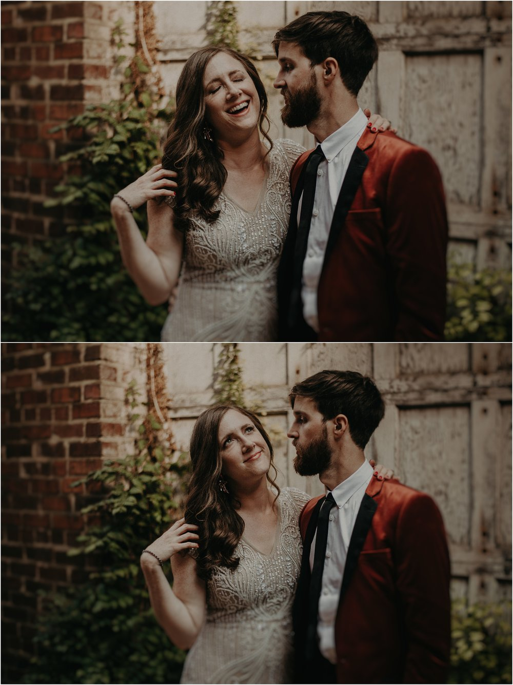 The groom makes his bride laugh