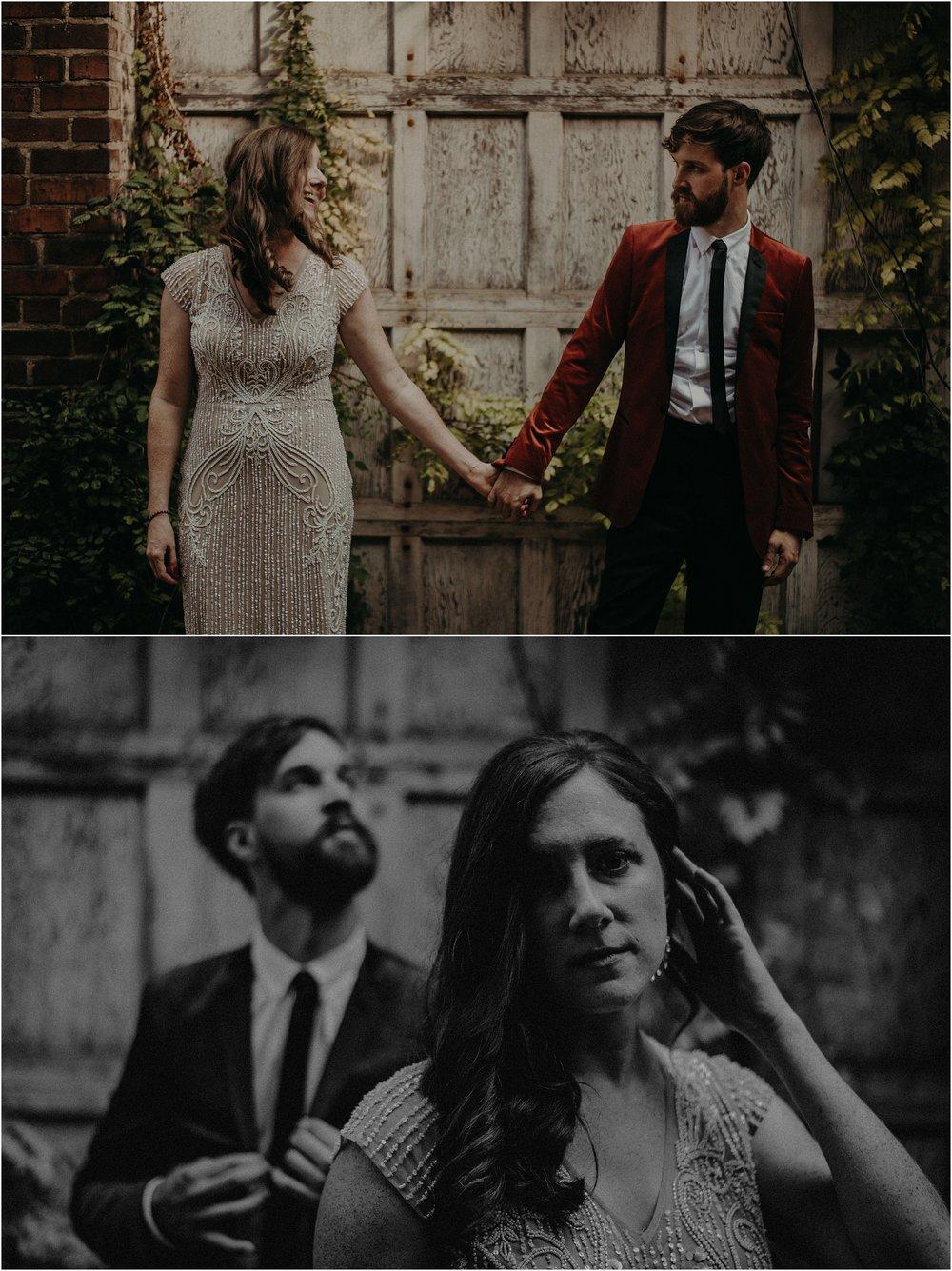 Moody bride and groom portraits