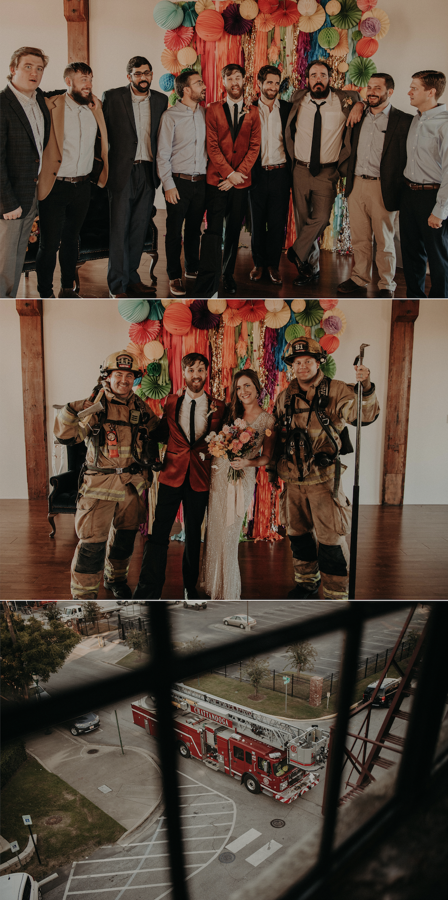 The fire alarm went off right after their ceremony ended, and the Firemen agreed to a few photos!
