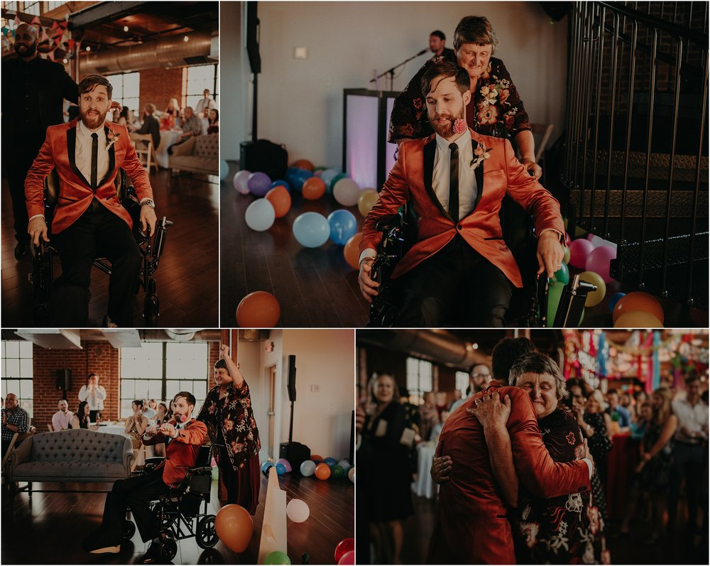 Mom wheels her son around in the wheel chair for their formal dance together