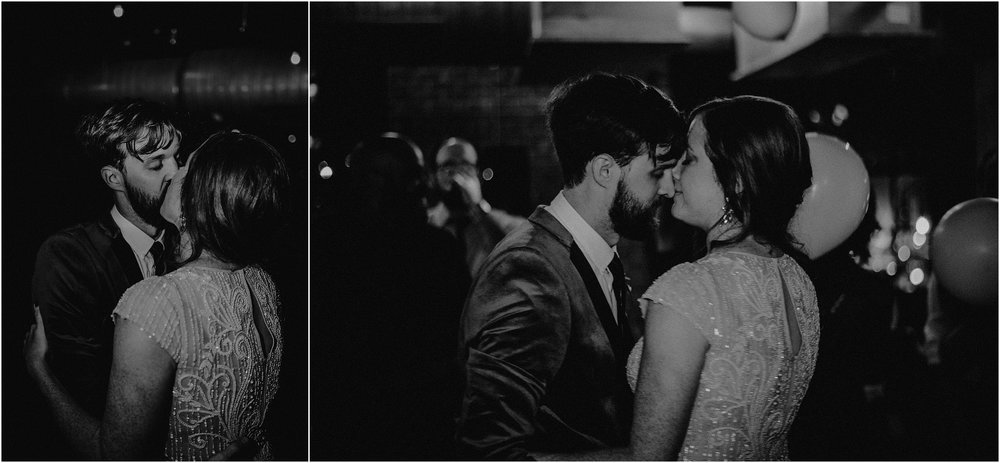 A sweet intimate between the bride and groom during the reception