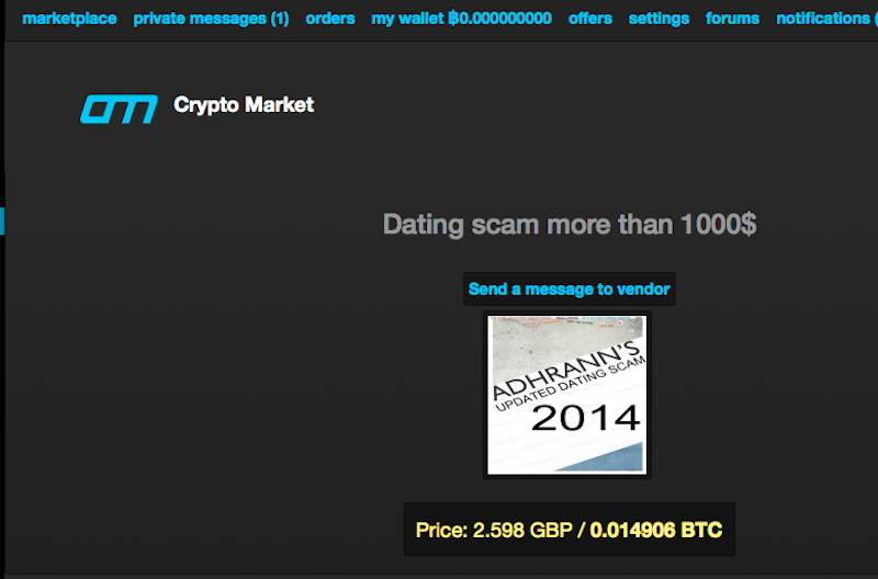Crypto Market A copy of the dating site scam guide being sold on the Crypto Market deep web site