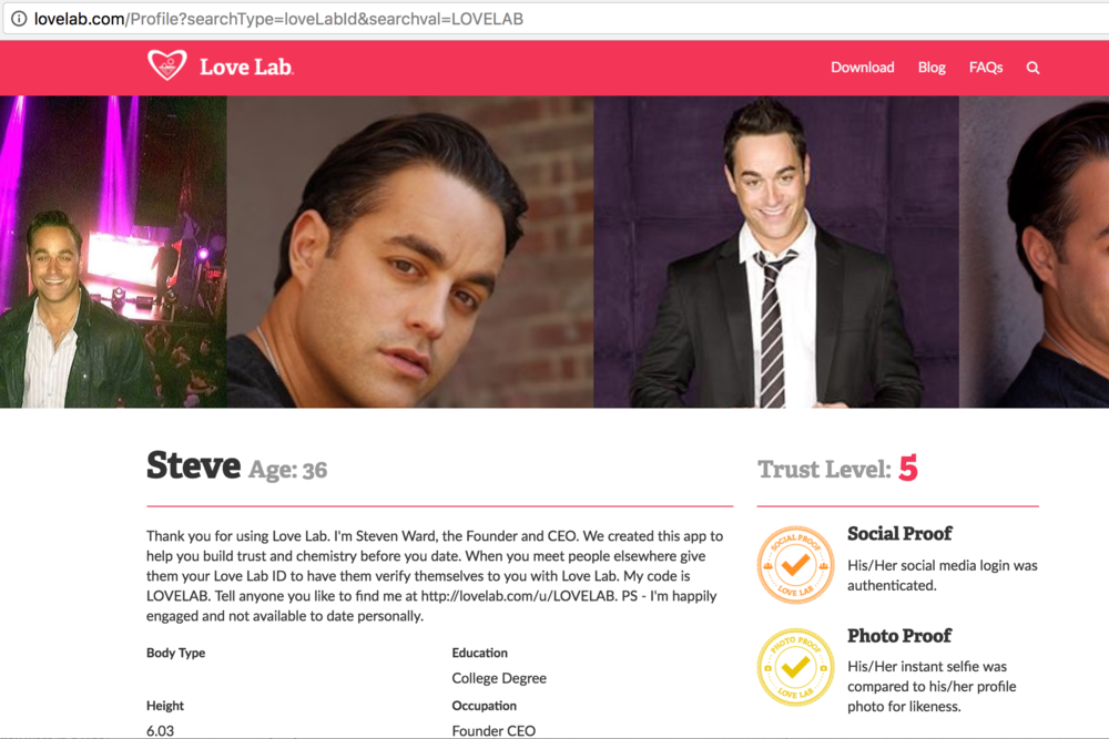 The Love Lab verified profile page available online available by direct link or search by Love Lab ID.