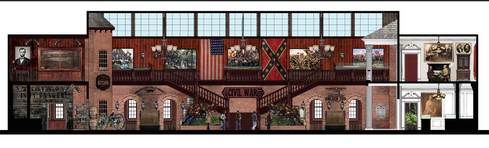 Interior Section Rendering of Civil War Hall Museum