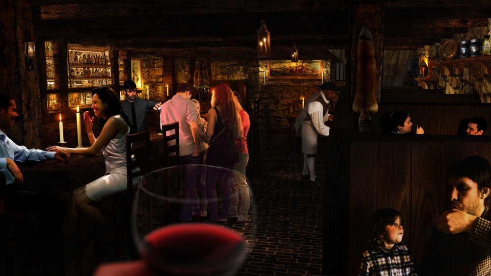 Rendering of the basement tavern