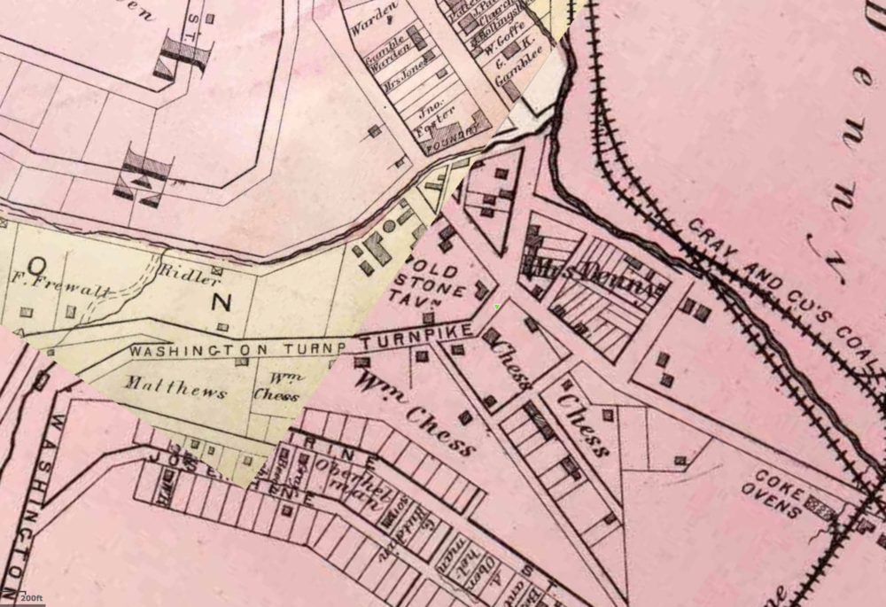 Old Stone Tavern on 1882 map of Pittsburgh