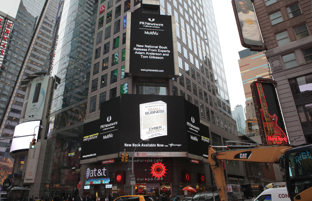 """The new book,""""Small Business Cyber Security: Your Customers Can Trust You...Right?"""" by Atlas Vault cofounder and CEO Adam Anderson has hit the shelves and the Big Apple!  Click the image for more info or BUY NOW from Amazon."""