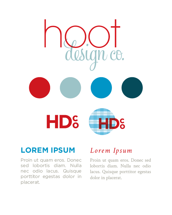 Essential elements of the Hoot Design Co. visual identity. An identity is created by combining basic elements into a cohesive whole.