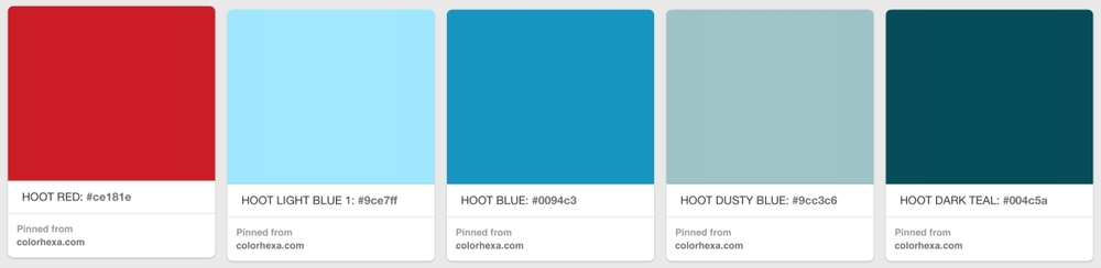 The HDco color palette on Pinterest