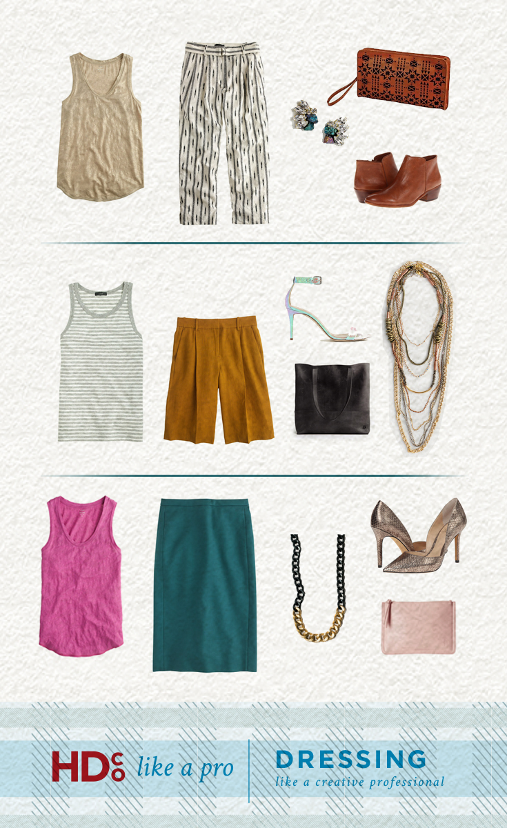 Nail your design pitches by embracing personal style. 3 hand-curated outfits from Hoot Design Co: Outfit 1: A little bit boho, a little bit glitz Metallic Tank Top | Cropped D Ring Pant | Lily Dawson Peacock Studs | Lo & Behold Laser Cut Clutch | Edelman Booties Outfit 2: Casual class with a boyish twist Stiped Tank | Italian Linen Shorts | Iridescent Heels | FashionAble Tote | Lily Dawson 9 Chains Necklace Outfit 3: Classic prep with a modern edge Pink Tank | Peacock Pencil Skirt | Lily Dawson Two Tone Necklace | Metallic Heels | Vegan Leather Charging Purse
