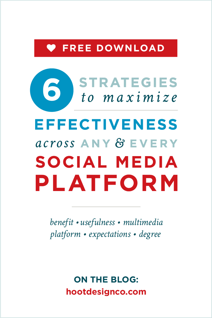 Free Download! 6 strategies to maximize your social media posts across EVERY platform. We analyzed the key elements of effective posts so you don't have to. | Hoot Design Co.