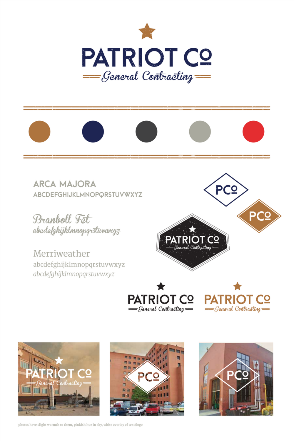 Patriot Co. General Contracting's final Brand Style Board.