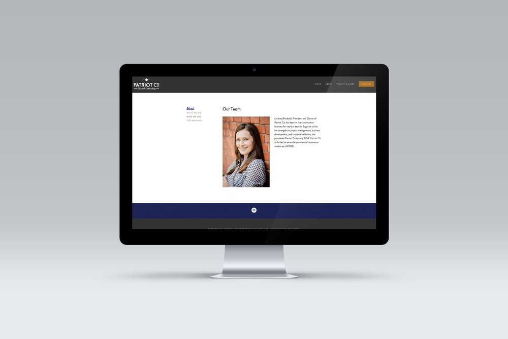 Patriot Co.'s about us page built in Squarespace