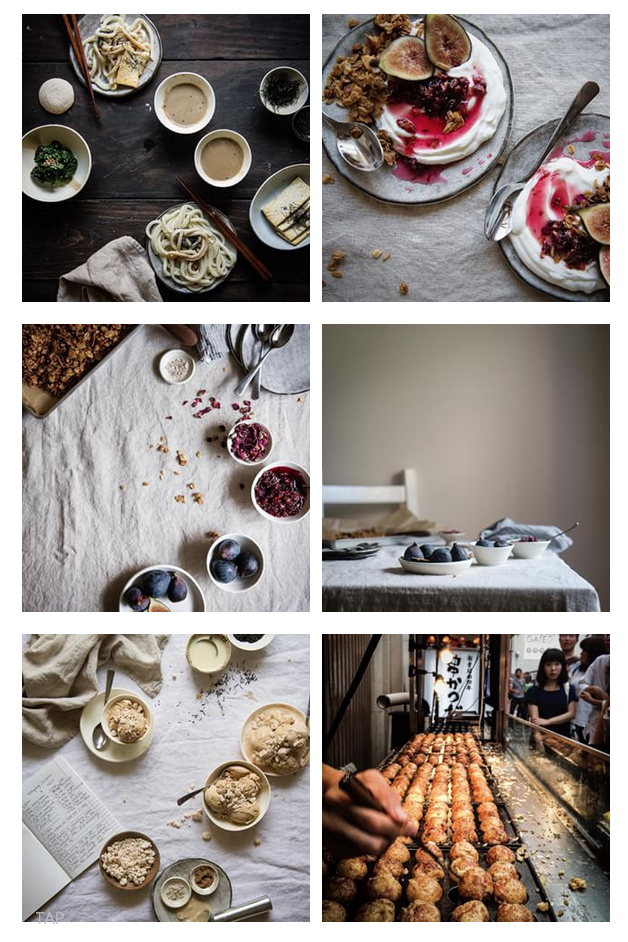 Food blogs, like  Two Red Bowls , are great examples of creating a consistent look for photos.