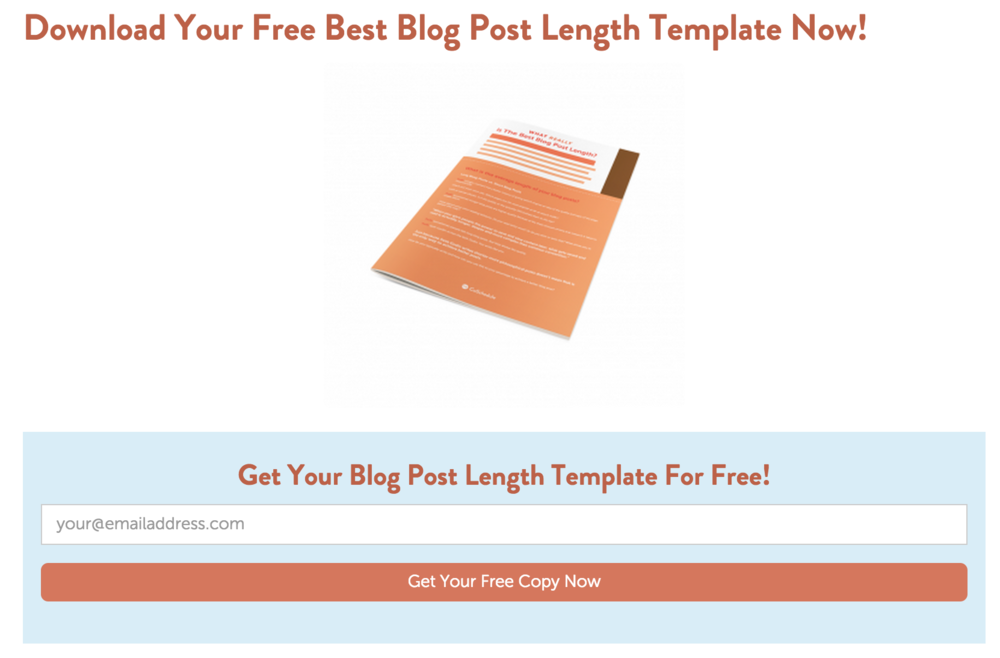 This offer is from a post discussing the effectiveness of different blog post lengths.