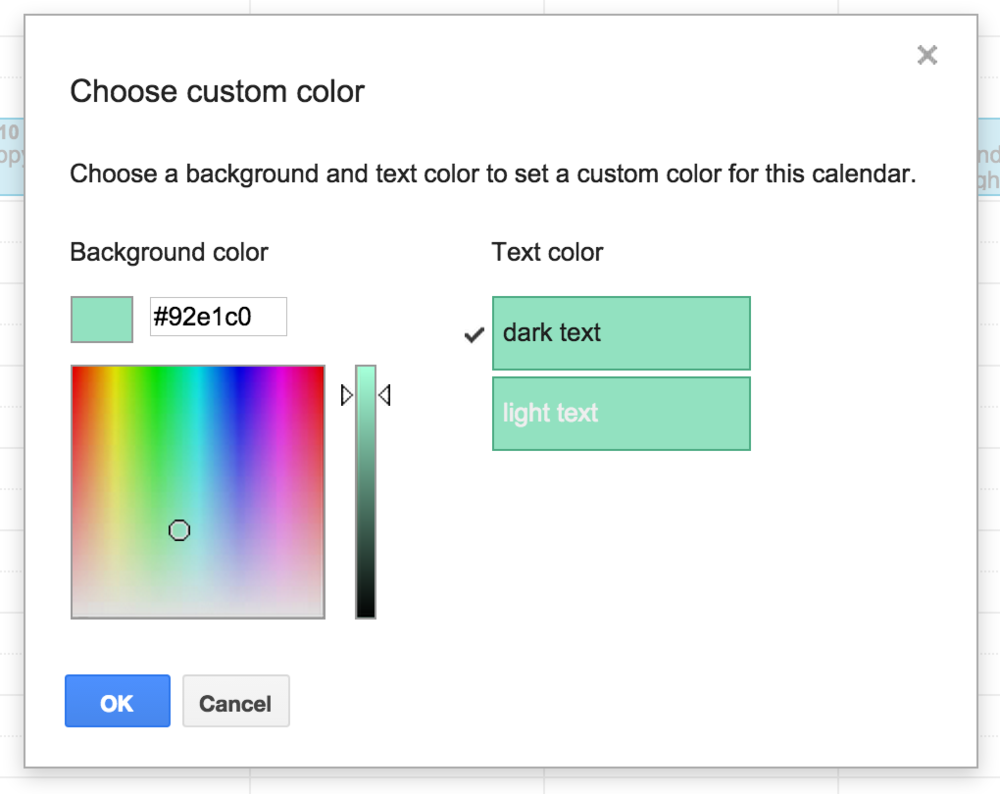 Google has graced us with #92e1c0, but we want to use one of *our* colors, thank you very much.
