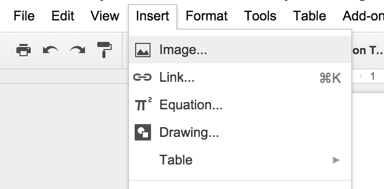Click where you want your image to go into the doc and then choose Insert > Image.