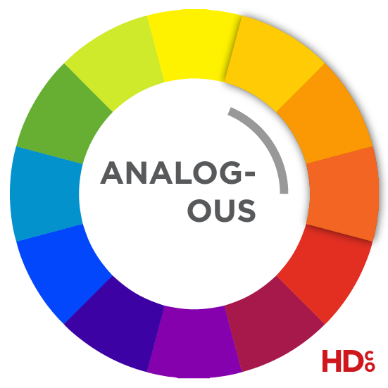 Analogous colors are next to each other on the color wheel. They give a harmonious and balanced feeling for the viewer. | Hoot Design Co.
