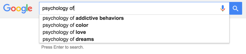 A quick snapshot of our impressionable minds, brought to you by Google.
