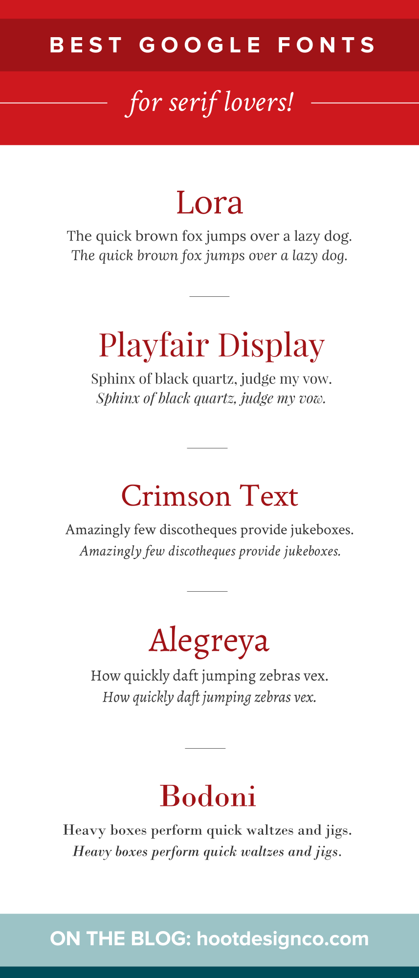 Our fave serif Google fonts – free to use! We love these because they're super readable, pleasantly balanced, and have great true italics. Super love. | Hoot Design Co.