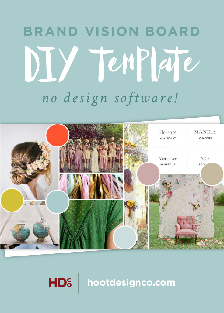 Create a brand vision board with your inspirational images and color palette using our template as well!