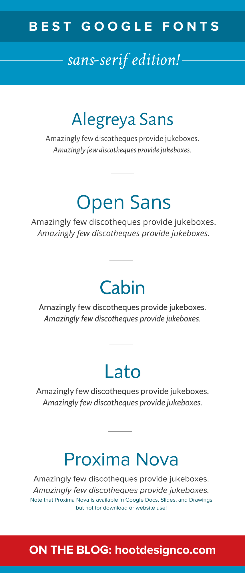 What are the best sans-serif fonts on Google fonts? There are lots of options, but these are great for both paragraphs AND headings. Full details on the blog! | Hoot Design Co.