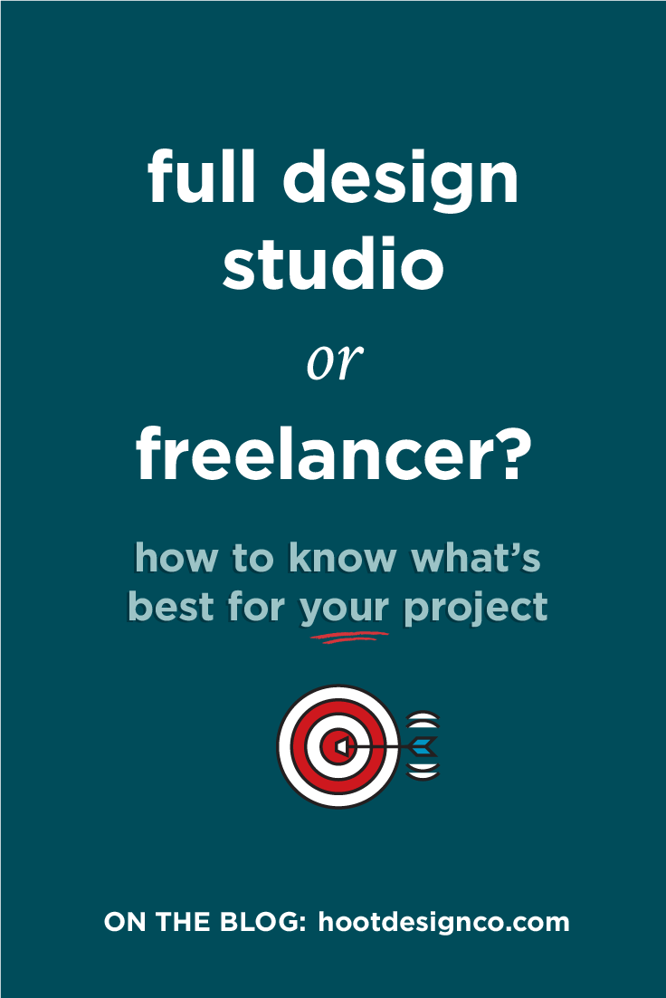 What are the benefits and drawbacks of hiring a full design studio or a freelance designer for your project? | Hoot Design Co.