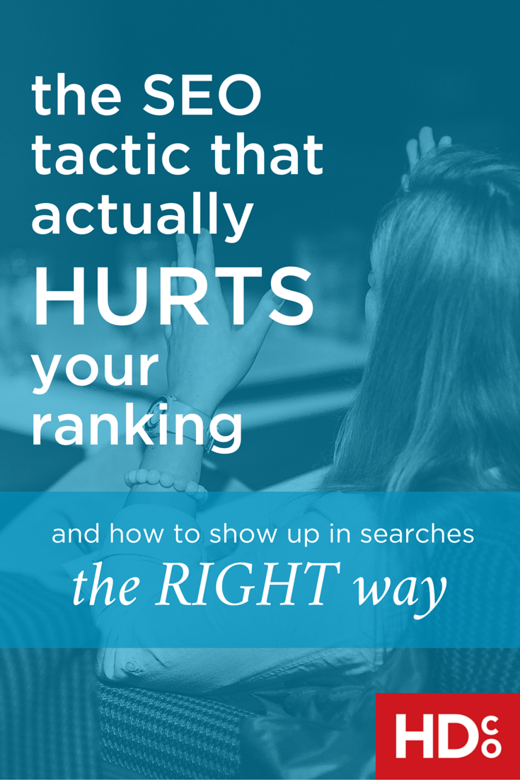 NOOOO! Some SEO strategies actually HURT your search rankings. AVOID these big mistakes in your SEO strategy to make sure your website isn't being penalized by Google or other search engines! | Hoot Design Co.