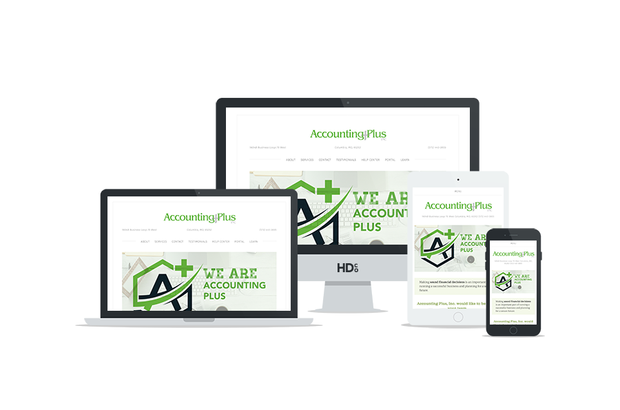 Website design for Accounting Plus | Hoot Design Co.