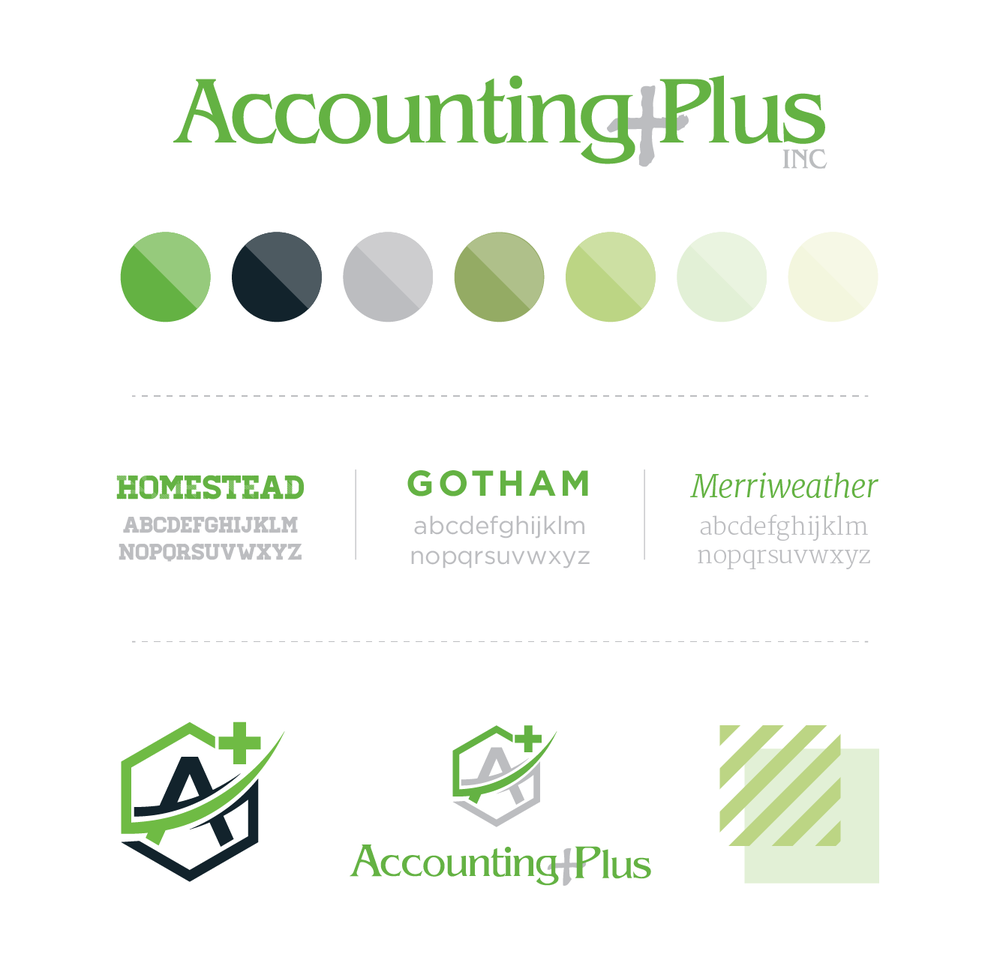 Brand board for Accounting Plus | Hoot Design Co.