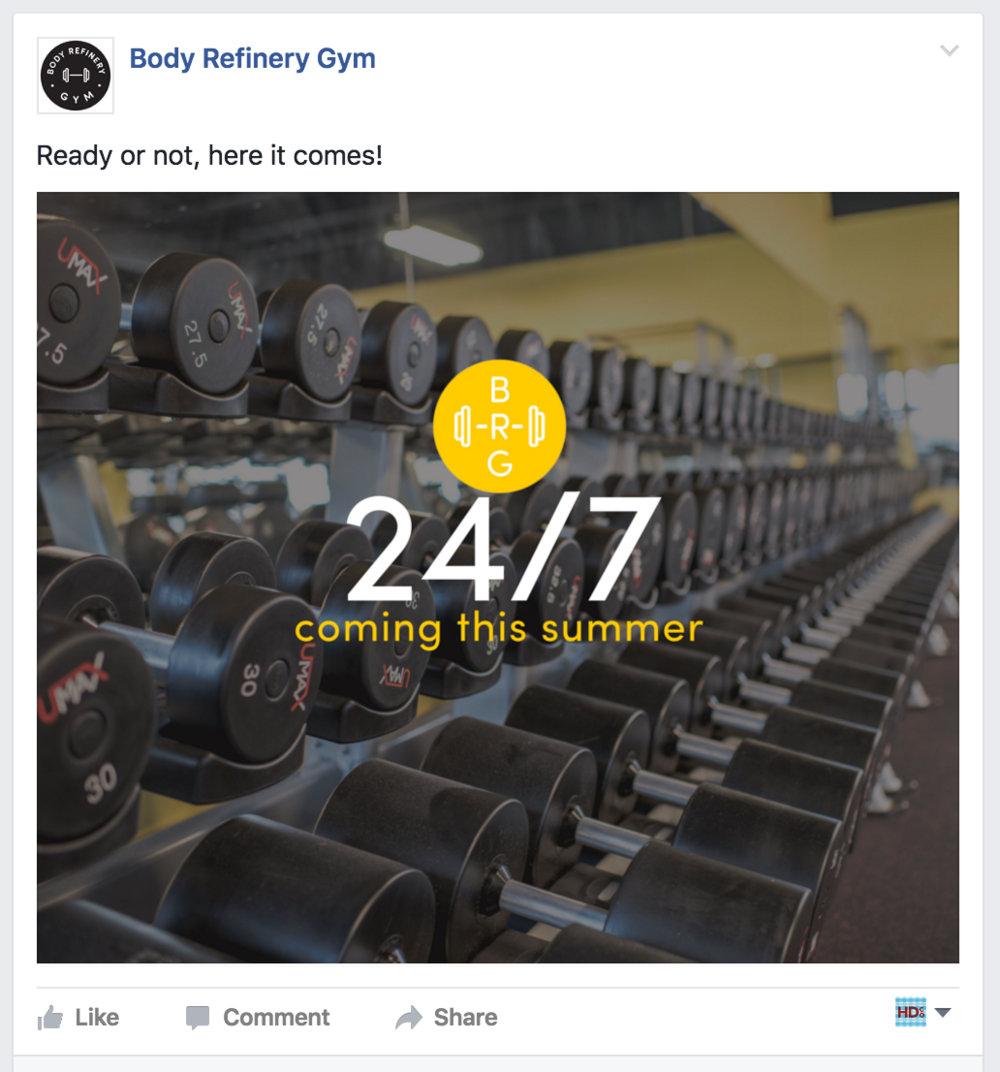 Social media content marketing for Body Refinery Gym