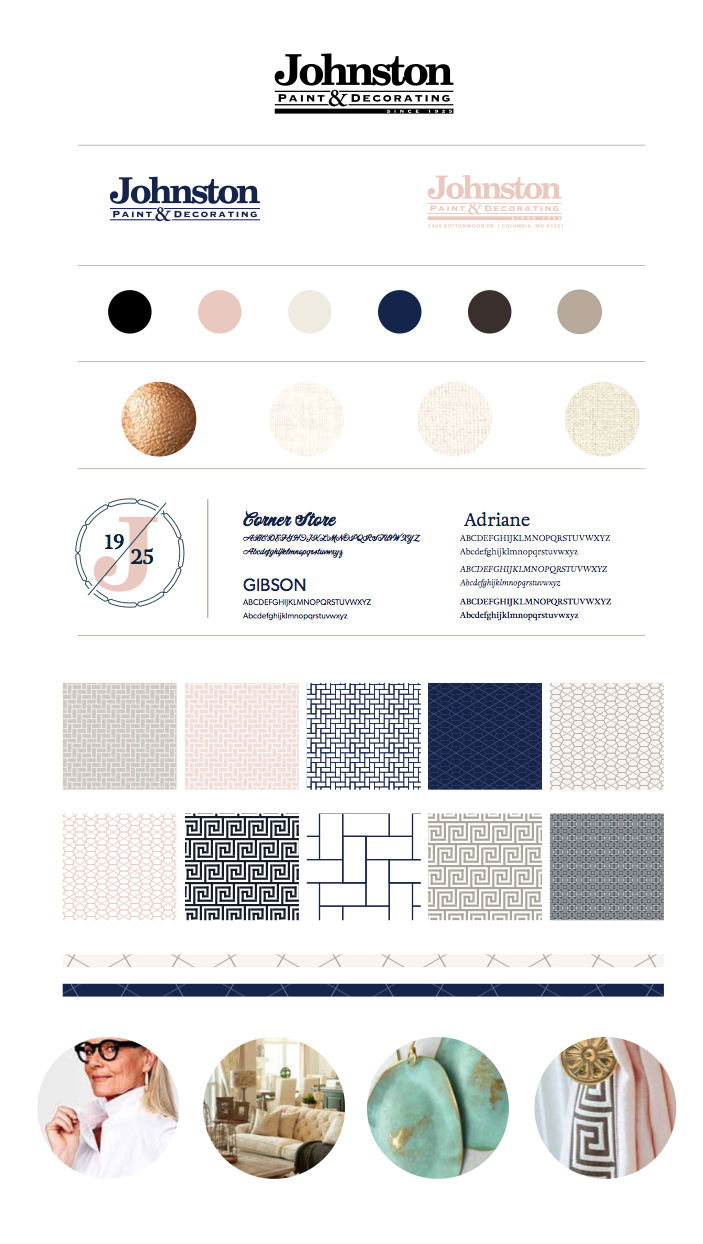 Branding for Johnston Paint & Decorating – brand board | Hoot Design Co.
