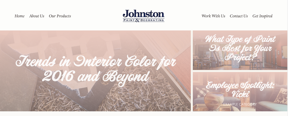 Content marketing in Columbia, MO for Johnston Paint & Decorating | Hoot Design Co.