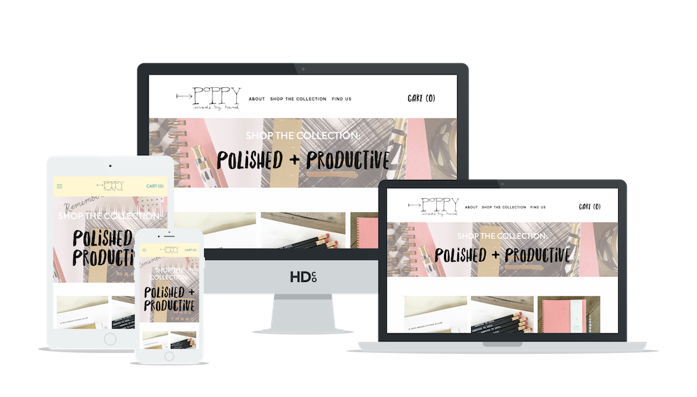 E-commerce website design for Poppy Made By Hand | Hoot Design Co.