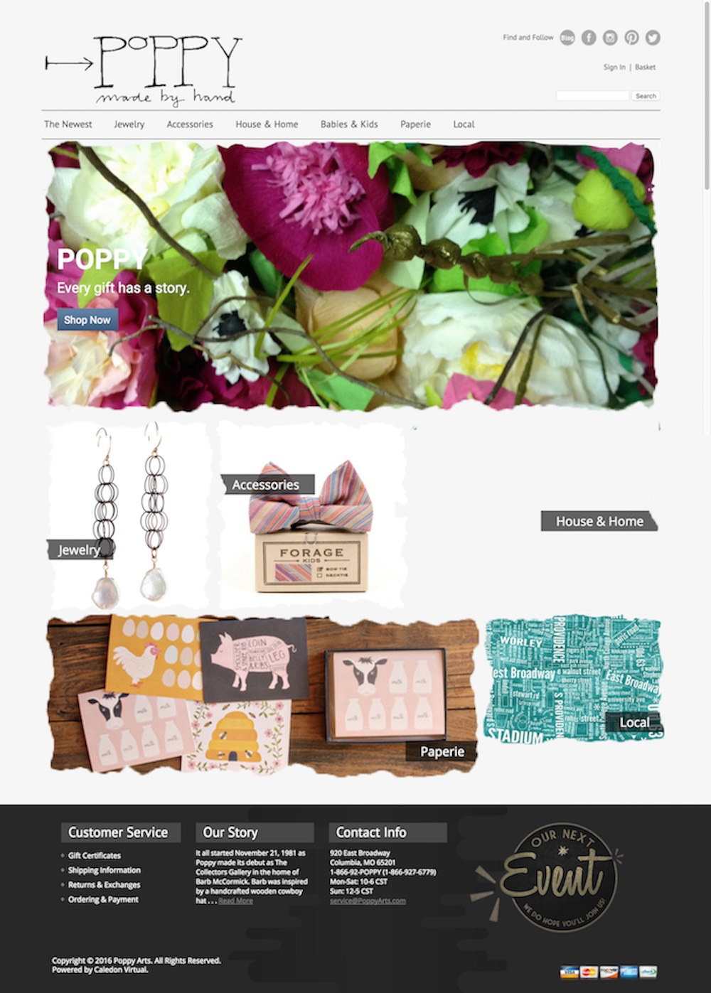 The OLD web design for Poppy... Which did not fit their needs at all. | Hoot Design Co.