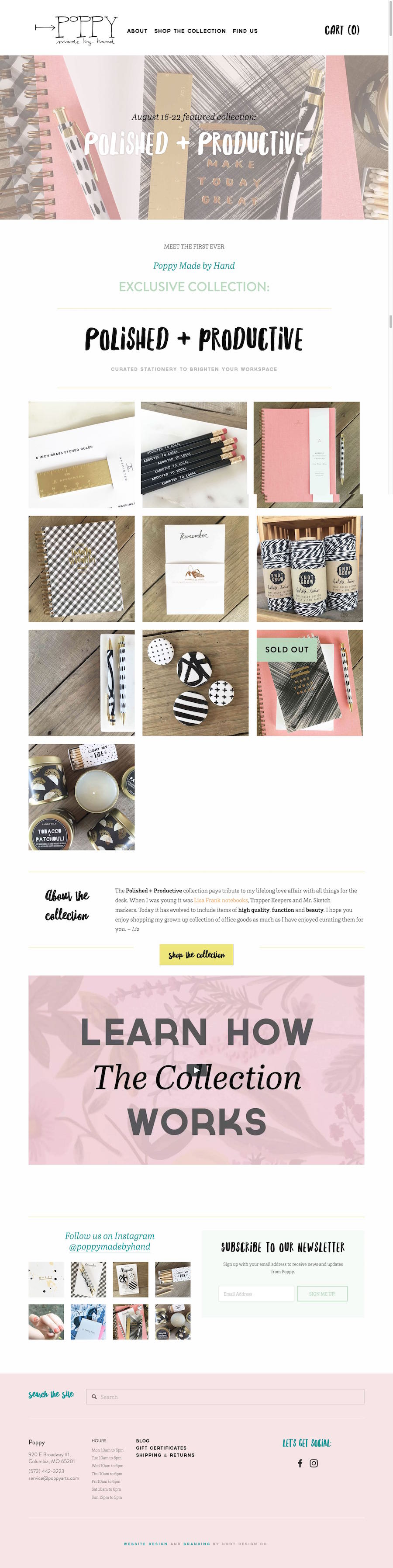 Ecommerce website design for Poppy Made By Hand in Columbia, MO | Hoot Design Co.