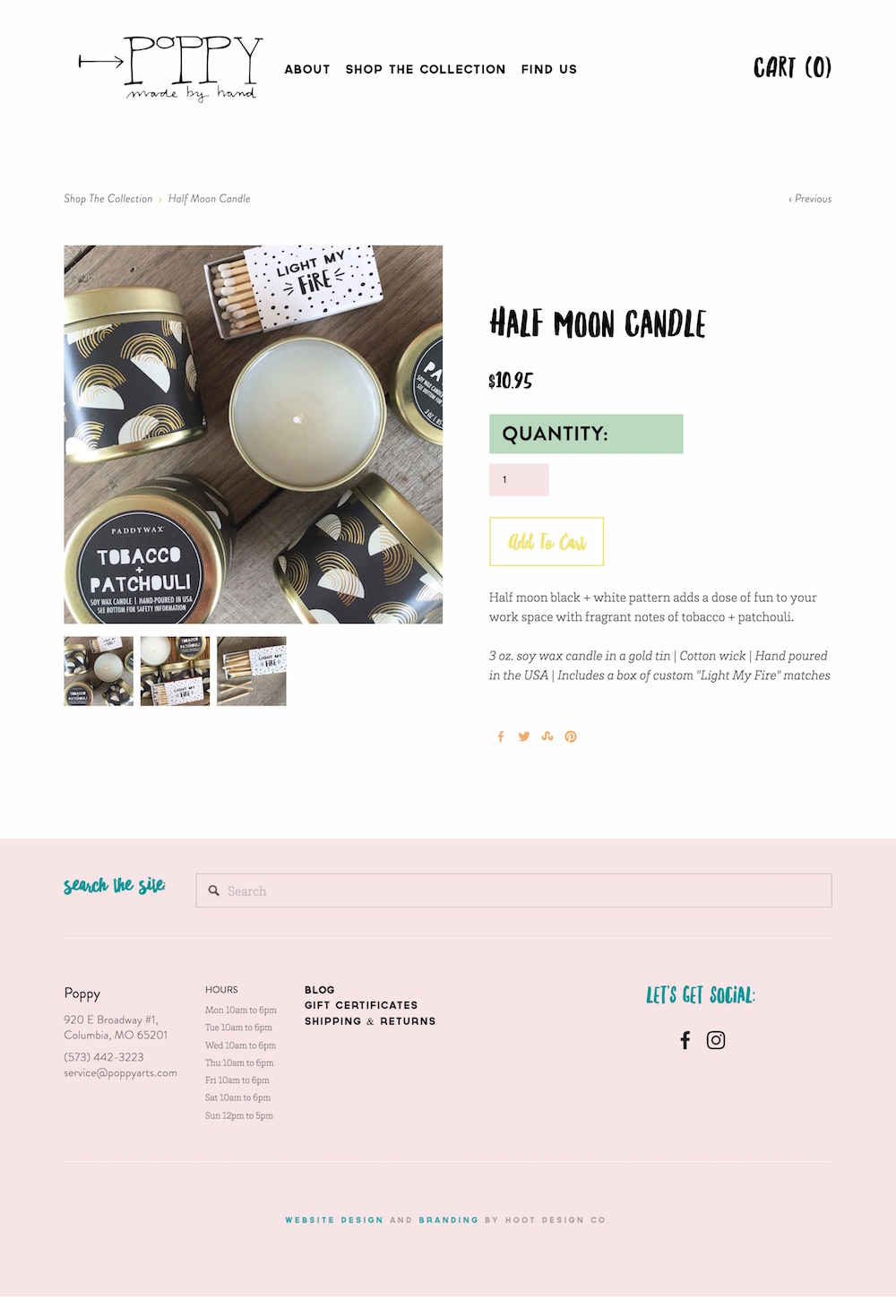 Squarespace e-commerce web design for Poppy in Columbia MO – yes please! | Hoot Design Co.