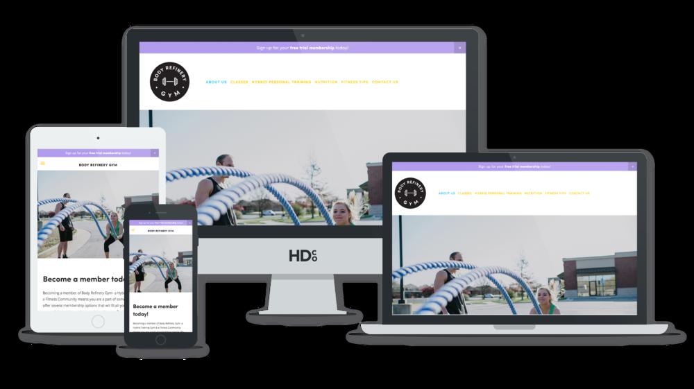 Beautiful Squarespace website design for Body Refinery Gym   Hoot Design Co. web design and development
