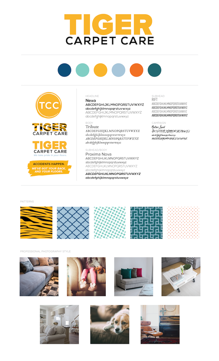 Brand board for Tiger Carpet Care in Columbia, MO