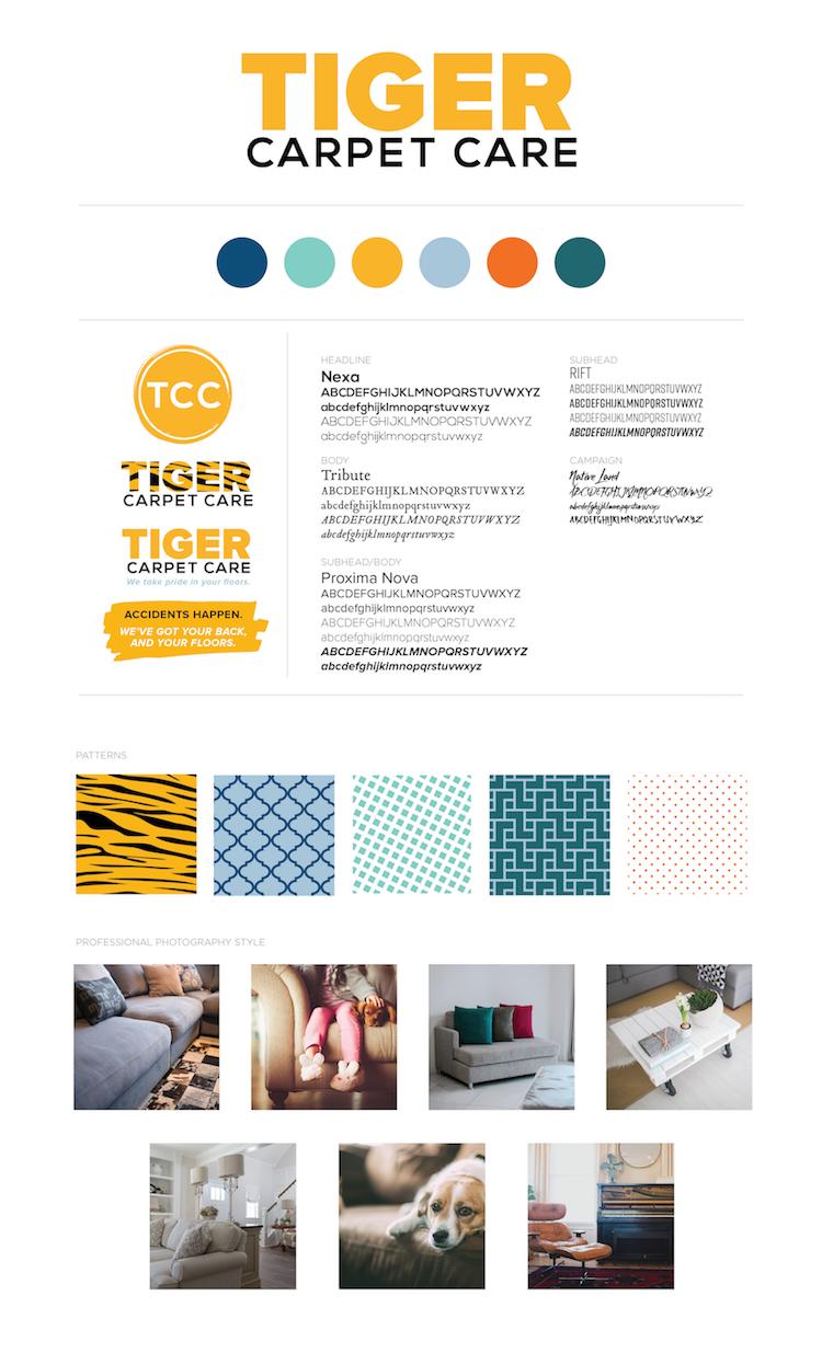 Brand board for Tiger Carpet Care in Columbia, MO