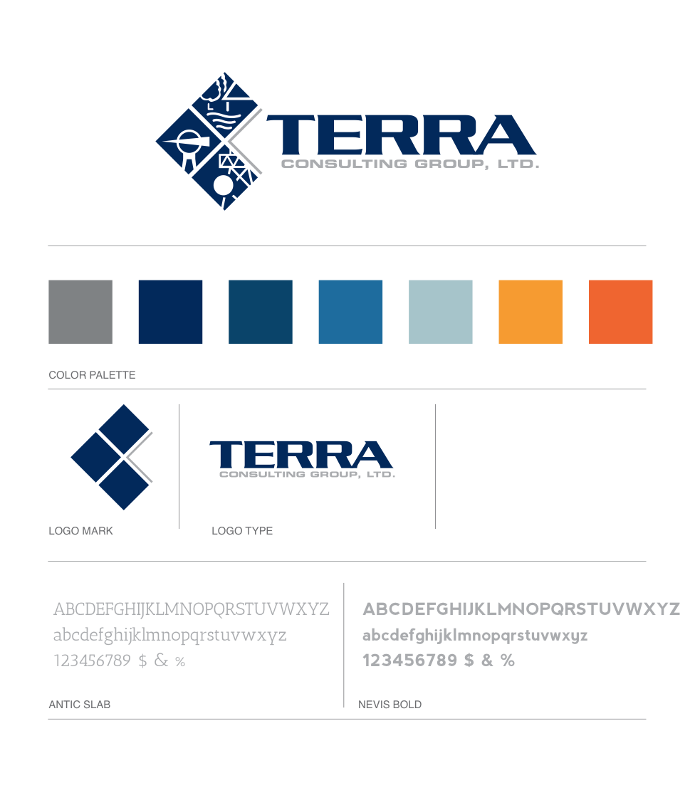 Brand board for Terra Consulting Group, Ltd. in Columbia, MO | Hoot Design Co.